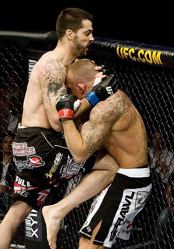 UFC president Dana White said he ''couldn't believe'' what he was seeing when referee Yves Lavigne failed to stop the fight between Matt Brown (left) and Pete Sell at UFC 96. Even Brown threw his hands up in dismay over the delayed stoppage. Lavigne, after momentarily putting his hands on Brown to pause the fight, chose to restart the action, even though Sell appeared to be out on his feet early on. Brown wasn't awarded the TKO victory until 1:32 into the first round, after Sell had taken far more punishment than he should have.
