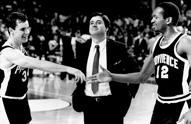 Providence was faced with tragedy just as tournament time came around. Shortly before the first game, coach Rick Pitino's infant son died, and he was forced to pass the reins to an assistant.  But Pitino returned and led the unranked No. 6 seed Friars to victories over -- in order --  Birmingham, Austin Peay, ninth-ranked Alabama and fourth-ranked Georgetown, before losing to Syracuse in the Final Four.