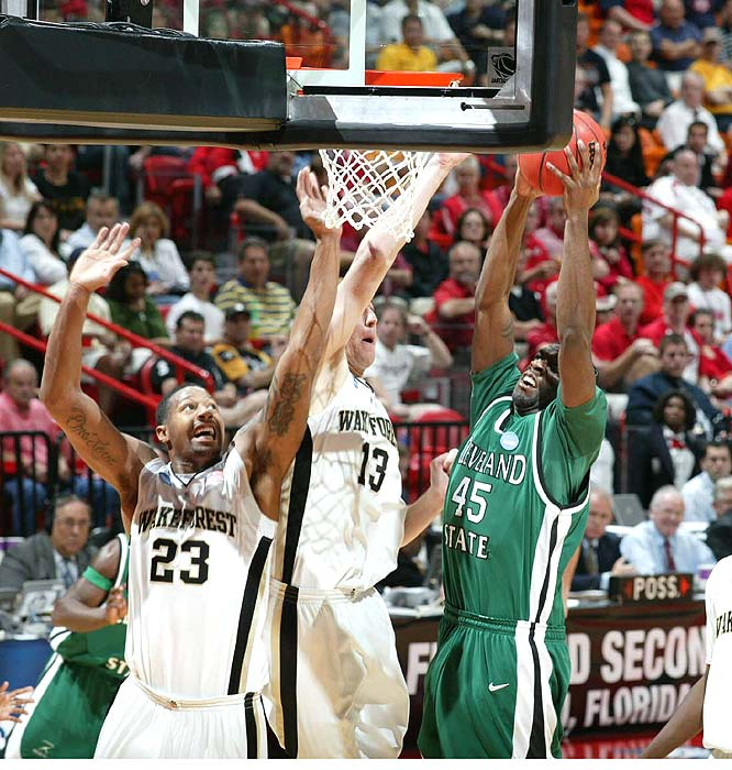 Renard Fields and the 13th-seeded Vikings recorded the first-round's biggest upset, stuffing highly-regarded Wake Forest.