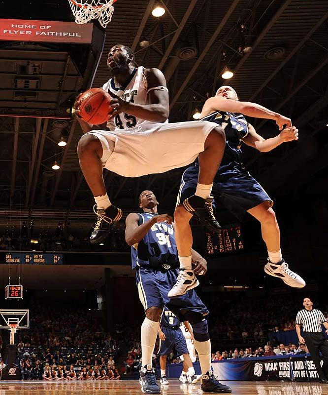 Pitt's massive center DeJuan Blair bullied his way inside for 27 points and 16 rebounds as the Panthers, playing their first game as a top seed in the NCAA tournament, survived a frightful 40 minutes from No. 16 seed East Tennessee State.