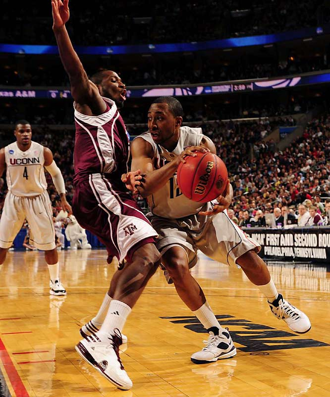 A.J. Price (12) scored 27 points, Jeff Adrien had 23 and Connecticut dominated Texas A&M from the opening tip.