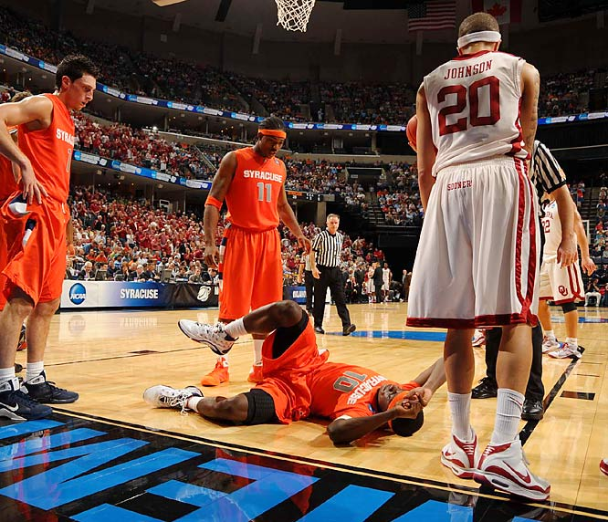 Jonny Flynn was the Orange's go to guy, so it was a big hit -- literally for the Orange -- when he tried to take a charge against Blake Griffin and immediately was thrown to the ground, suffering a bruised back. Although Flynn returned, he was only a whisper of himself in the second half.