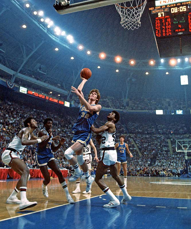 UCLA center Bill Walton takes a shot during the Final Four in St. Louis. UCLA defeated Memphis 87-66 for the title.