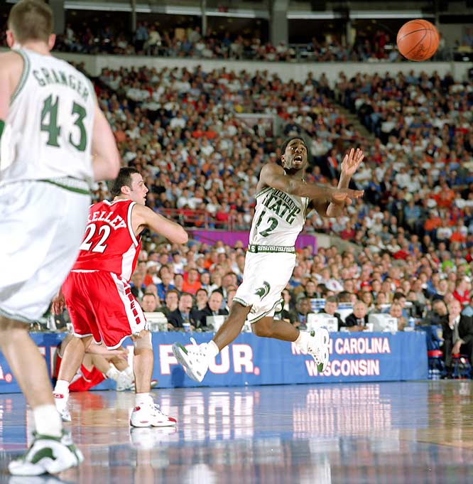 Michigan State guard Mateen Cleaves makes a pass during a Final Four semifinal in Indianapolis. The Spartans defeated the Wisconsin Badgers 53-41 to meet Florida for the title. Cleaves was named MVP of the tournament.