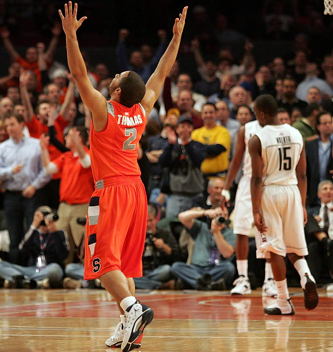 The game put reserves like Justin Thomas, pictured, on the floor at the Garden in a clutch game -- but who will a tired Syracuse put on the floor against West Virginia tonight?