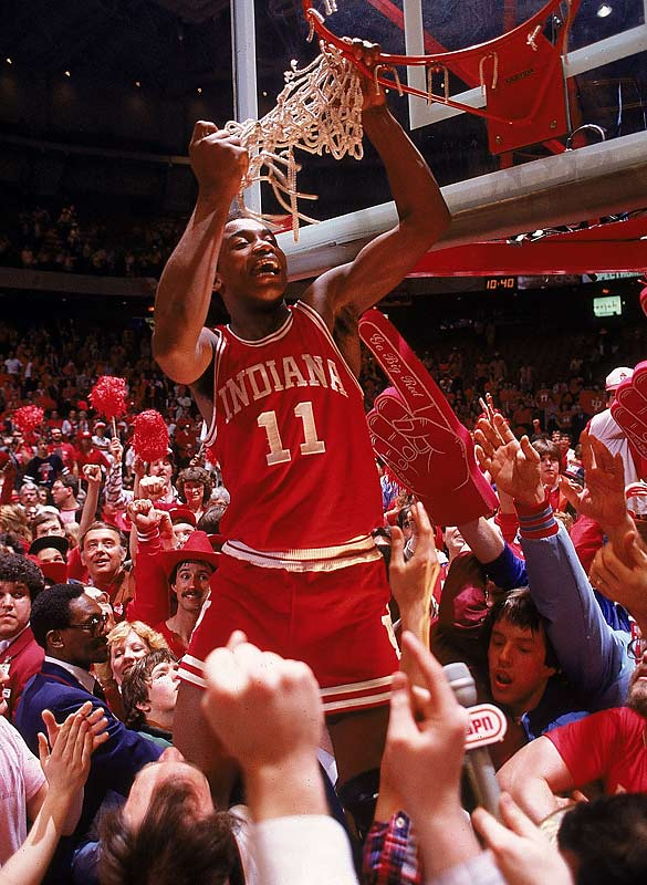 Indiana's Isiah Thomas celebrates the Hoosiers' national championship.