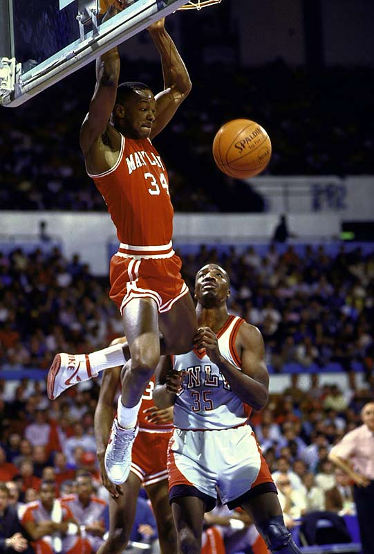 Maryland's Len Bias swoops in for a dunk during a second-round loss to UNLV.