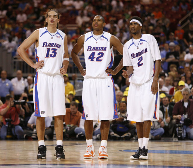 Two-time national champions Joakim Noah, Al Horford and Corey Brewer on the court for Florida in a 2007 tournament game against Oregon.