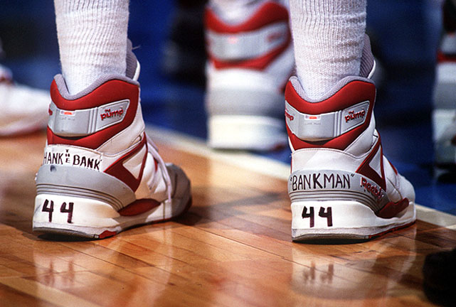 A Loyola Marymount player wears sneakers honoring dead teammate Hank Gathers during the 1990 tournament