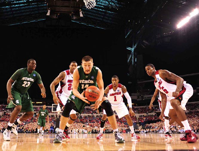 For the second straight game Goran Suton (center) was the Spartans' offensive star. He finished with 19 points and 10 rebounds as Michigan State advanced to the Final Four.