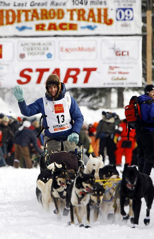After leaving the start, teams of 12 to 16 dogs travel from Anchorage, in south central Alaska, to Nome on the western Bering Sea coast.