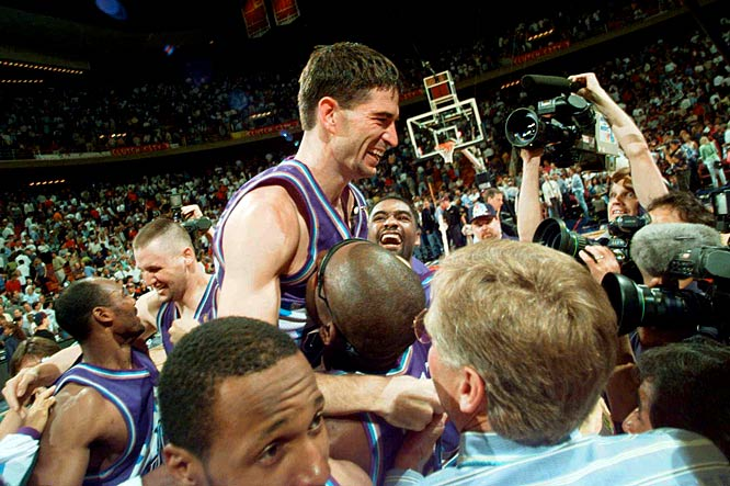 In one of his most memorable moments, Stockton nailed a buzzer-beating three-pointer over Houston's Charles Barkley in Game 6 of the 1997 Western Conference finals. The shot secured an NBA Finals berth for the Jazz.