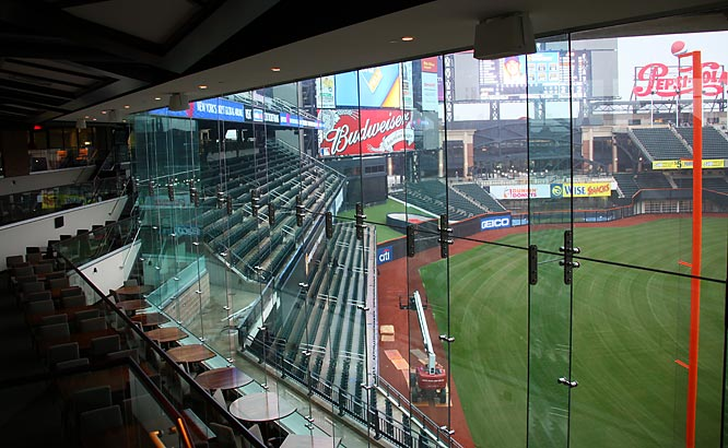 Looking out from the Acela Club in left field.