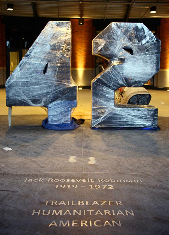 A monument to Jackie Robinson sits at the main entrance to Citi Field.
