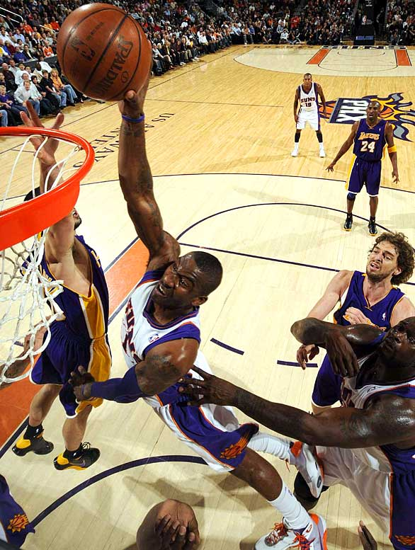 After attending six high schools, Stoudemire landed in Phoenix as the No. 9 pick in the 2002 draft. He has averaged more than 20 points in five of the last six seasons, the only exception being 2005-06, when he played only three games after having microfracture surgery. Stoudemire started the 2009 All-Star Game, but his season ended less than a week later when he had surgery to repair a partially detached retina in his right eye.