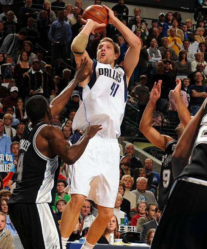 (All stats and records are through March 16.)<br><br>Nowitzki, the 2007 winner, keeps doing what he does best: The Mavericks are 14-6 on the nights he has scored 30 points or more, and he is averaging 25.5 points for the season.