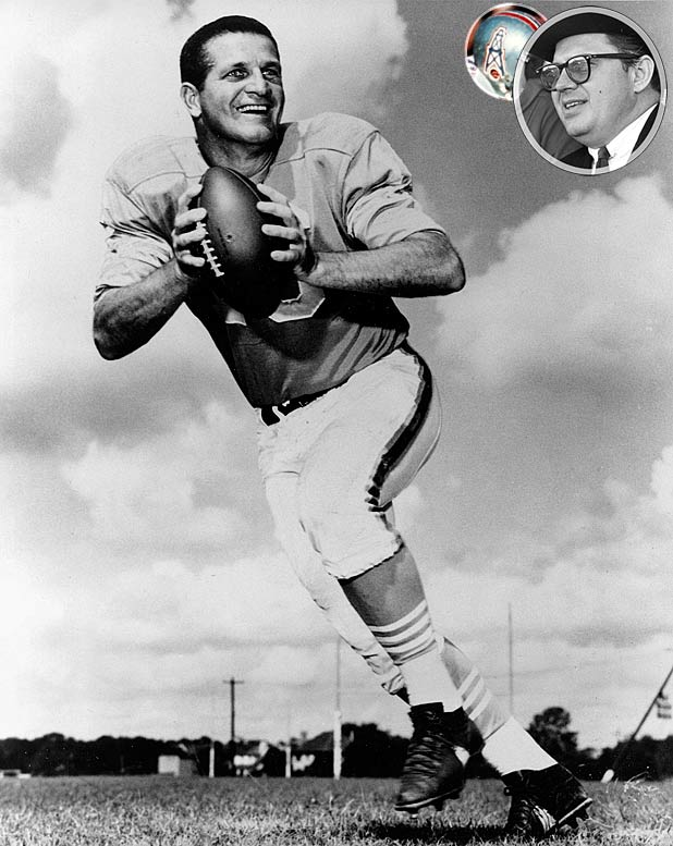 The Oilers -- founded by oil tycoon Bud Adams (inset) -- won the AFL's first two titles and were largely responsible for the league's reputation for high-flying offensive football: The 1961 Oilers were the first team in pro football history to score more than 500 points in a season (513). Credit legendary quarterback George Blanda (pictured) and 1959 Heisman Trophy winner Billy Cannon, the first big-name college star to choose the upstart AFL over the established NFL. The organization moved to Tennessee before the 1997 season and changed its name to Titans in 1999.