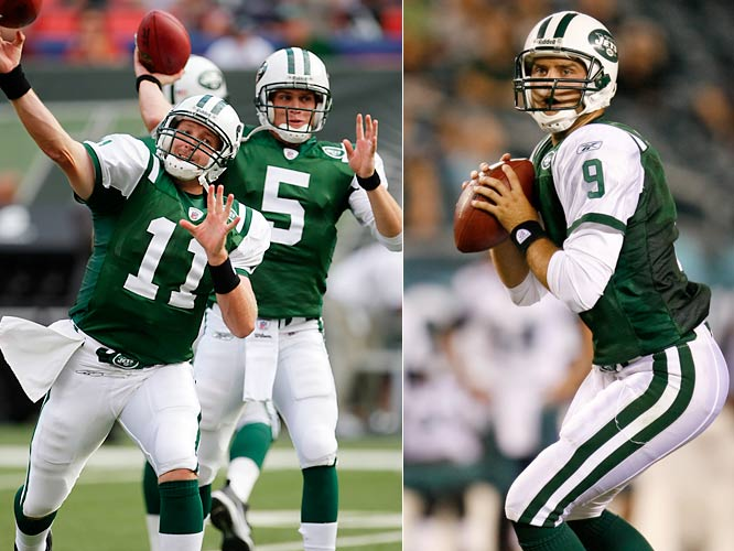 Kellen Clemens is entering his fourth season in the Jets system, and Brett Ratliff showed promise with a 122.5 passer rating in the preseason last year. Erik Ainge will also get a look as the Jets look for Brett Favre's replacement.