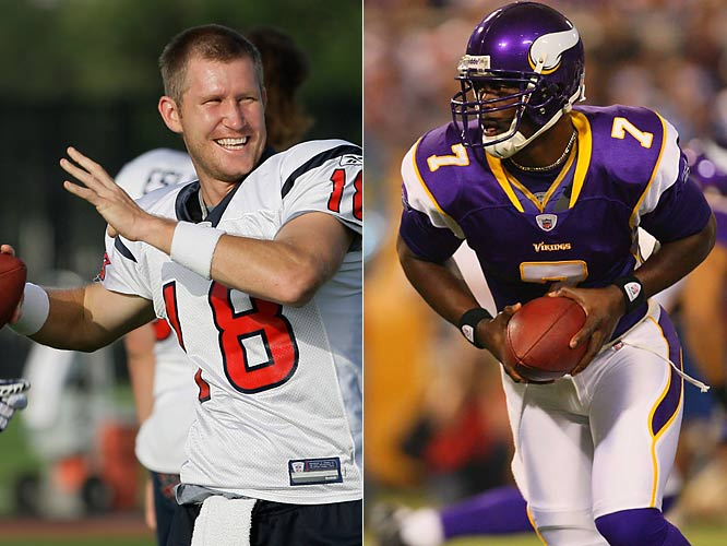 Though given ample opportunity, Tarvaris Jackson hasn't grabbed the starting job the way the Vikings would have liked. So they signed former Texans quarterback Sage Rosenfels and will have an open competition between the two in training camp.