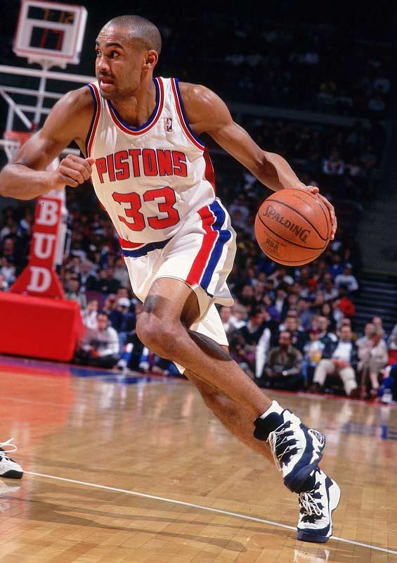 Detroit rookie Hill drives toward the basket against Seattle.