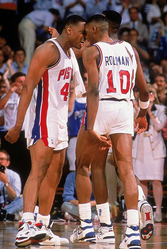 Mahorn and Rodman try and pump each other up during the 1989 playoffs.