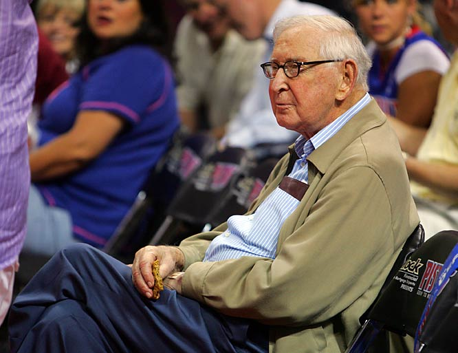 Detroit owner Bill Davidson, who passed away in early March 2009, looks on during the 2005 NBA Finals against San Antonio.