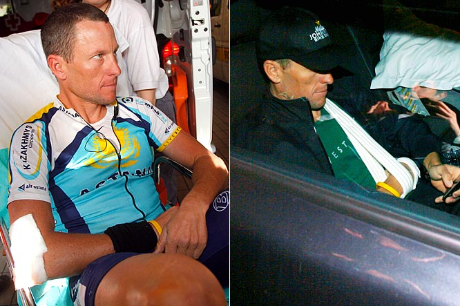 If cancer couldn't stop Armstrong from competing in the Tour de France, do you really think a broken collarbone will?