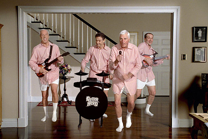 If you've ever wanted to see Bob Knight, Rick Pitino, Roy Williams and Coach K in nothing but pink shirts, boxers and socks doing an impersonation of Tom Cruise from <i>Risky Business</i> (don't lie, you know you do), Guitar Hero's newest spot will make your dream come true. Thankfully, Metallica comes in during the ad to save the day.