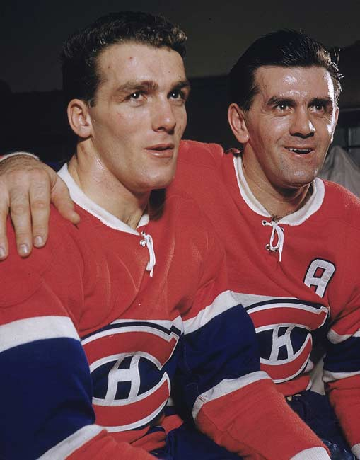 "Montreal's Maurice ""Rocket"" Richard (right, posing with his brother Henri) becomes the first NHL player to score 50 goals in a season."