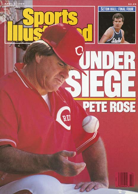 Sports Illustrated exposes Pete Rose's gambling activities. The magazine article alleges Rose bet on baseball from the Riverfront dugout using hand gestures with an associate.