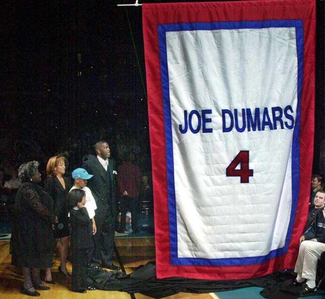 The Detroit Pistons hold a ceremony to retire the jersey of Joe Dumars. The Pistons great, who won two NBA championships with the Pistons, becomes the seventh member of the club to have his number raised. Dumars joins Dave Bing (No. 21), Bob Lanier (No. 16), Vinnie Johnson (No. 15), Bill Laimbeer (No. 40), Isiah Thomas (No. 11) and coach Chuck Daly (No. 2).