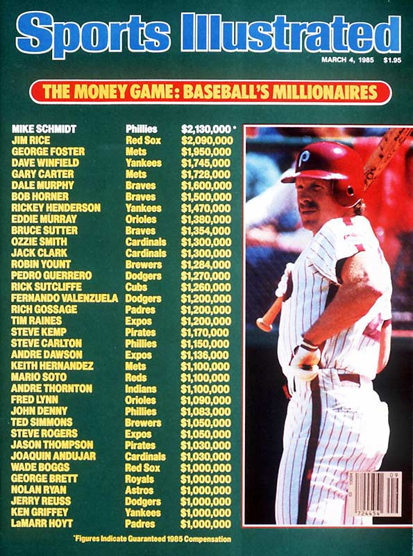 How the times have changed! In March 1985, Mike Schmidt topped the list of baseball moneymakers with an annual salary of $2.13 million. Nearly a quarter-century later, the average annual salary of an MLB player is over $3 million.