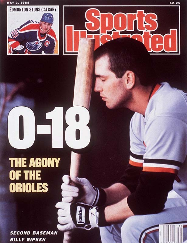 The Baltimore Orioles lost for the 21st consecutive time. It was the longest streak to start a season in major league baseball.  The Orioles fired manager Cal Ripken Sr. six games into the streak, but replacement Frank Robinson didn't have much more success: The O's finished the season a dismal 54-107.