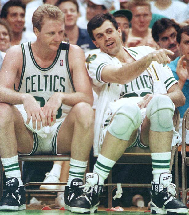 The Boston Celtics score the most points in a playoff game, beating the New York Knicks, 157-128.  Eight Celtics, led by Kevin McHale with 31 points, scored in double figures as Boston jumped to a 2-0 series lead.