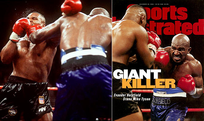 In their first matchup, on Nov. 9, 1996, Evander Holyfield shocked Tyson by TKO in the 11th round to win the WBA heavyweight crown.
