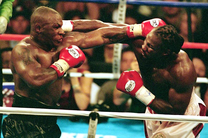 "After dropping back-to-back fights to Holyfield, Iron Mike got himself back in title contention, this time against IBO, IBF and WBC titleholder Lewis on June 8, 2002. After telling Lewis, ""I want your heart. I want to eat your children!"" Tyson was knocked out in the eighth round."