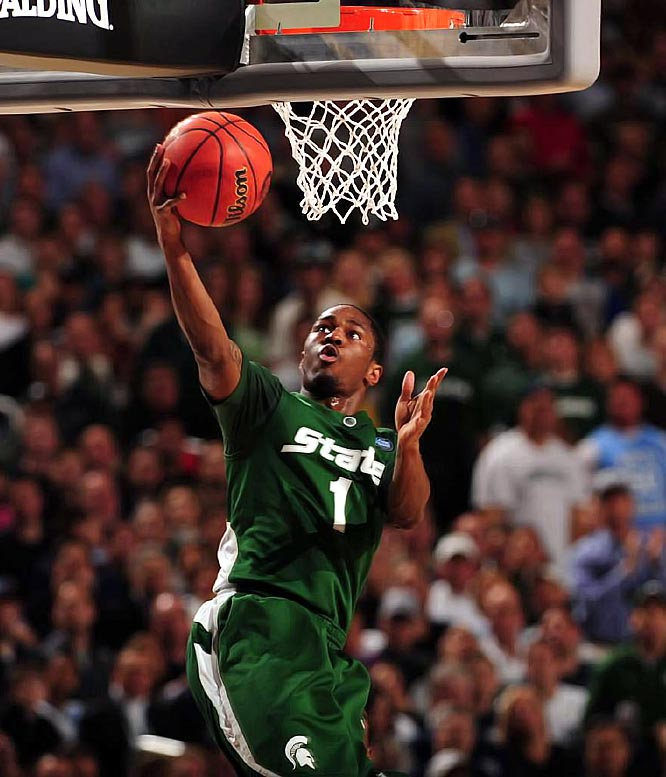 The core of Michigan State's offense, junior point guard Kalin Lucas led the underdog Spartans to the NCAA final against North Carolina, averaging 17.2 points and 5.1 assists per game.