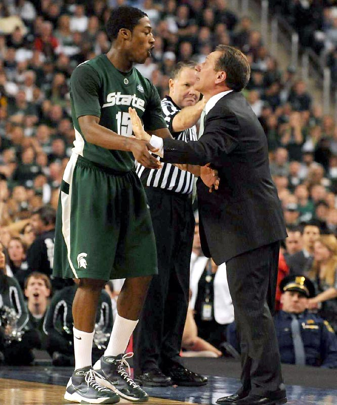 Durrell Summers (10 points) and coach Tom Izzo engage in a spirited on-court discussion. Izzo has now reached the championshp game twice this decade (2000, 2009).