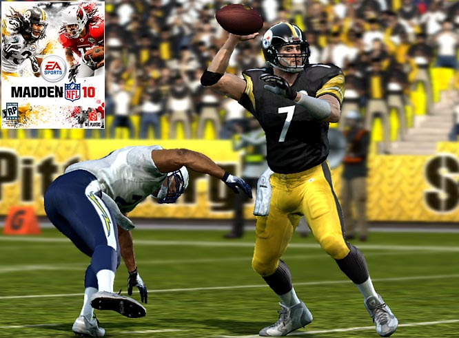 John Madden's video game franchise returns with Madden NFL 10, to be released in early August across all gaming platforms. This screen grab shows Pittsburgh's Ben Roethlisberger in action against the San Diego Chargers in the XBOX 360 and PS3 versions of the game. Click ahead for screens from the Nintendo Wii version.