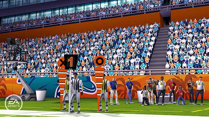 Take in the view of the sidelines at Dolphin Stadium. Hey, where are the cheerleaders?
