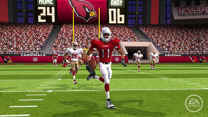 Arizona's star wide receiver Larry Fitzgerald breaks free against the San Francisco 49ers.
