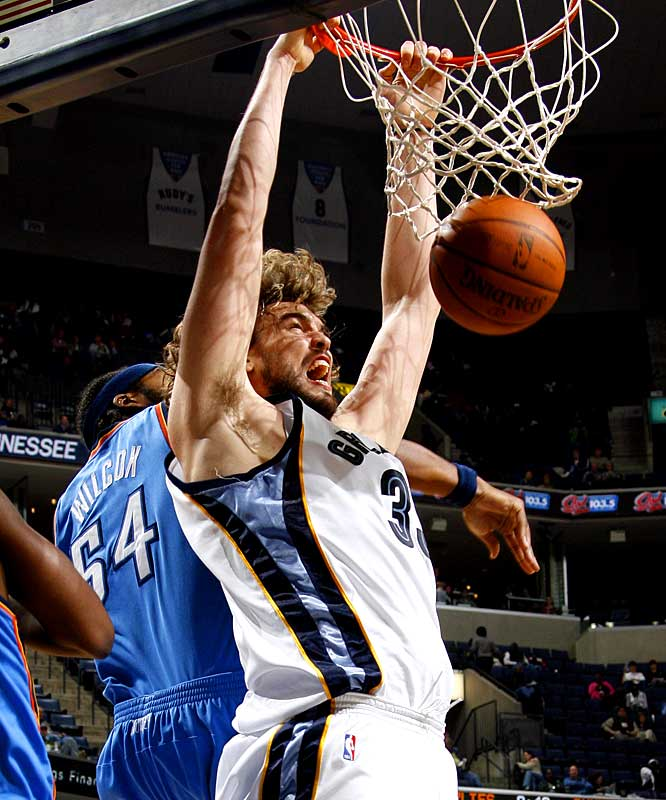 Pau's younger brother has emerged as a promising post presence in his rookie season. Gasol leads all rookies in field-goal percentage (53.2) and is averaging 11.7 points and a team-leading 7.4 rebounds in 30.7 minutes.