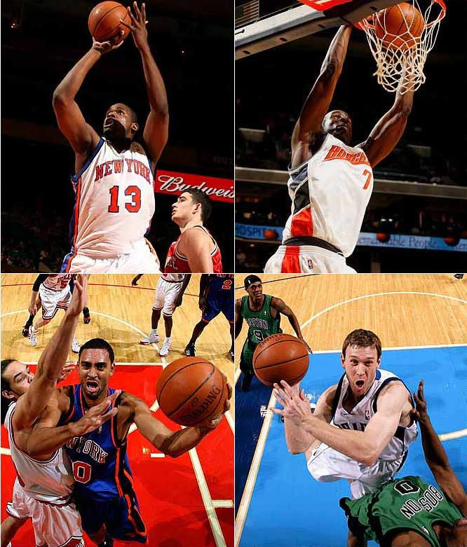 James (top left) headlines the list of mid-level-exception mistakes, which includes (clockwise from top right) DeSagana Diop, Matt Carroll and Jared Jeffries. James, who was acquired from the Knicks before the trade deadline, has appeared in two games all season.