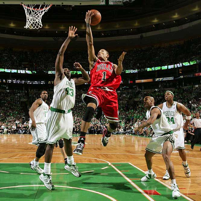 Boston's Rajon Rondo recorded 29 points, nine rebounds and seven assists ... and was clearly the second-best point guard on the floor. That's because Rose went for 36 points and 11 assists in Chicago's 105-103 overtime victory. Rose, the No. 1 pick in the 2008 draft, matched Kareem Abdul-Jabbar's record for most points in a playoff debut.