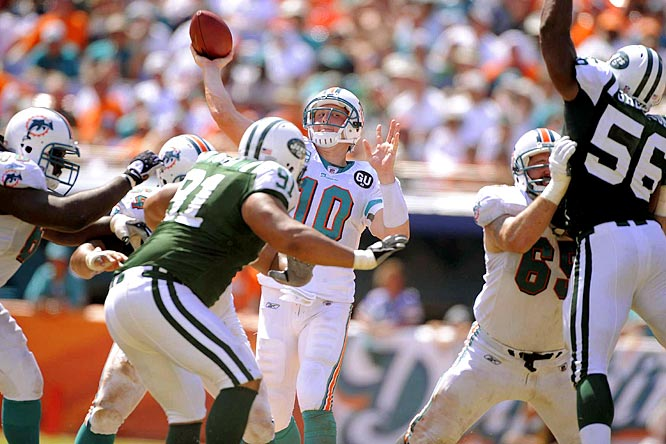 The rematch of their Week 17 showdown last season, which ended the Jets career of both Brett Favre and Eric Mangini, and put the Chad Pennington-led Dolphins into the playoffs for the first time since 2001.