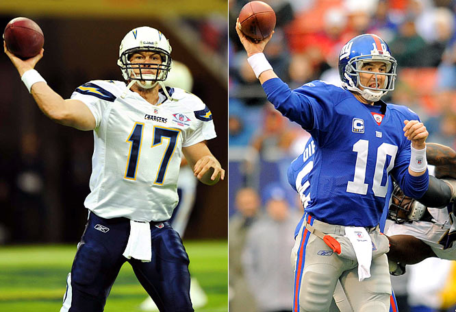 Eli Manning and Philip Rivers were traded for each other on Draft Day 2004 and this will be their first meeting as starters (Chargers and Giants met in '05, but Rivers didn't play).