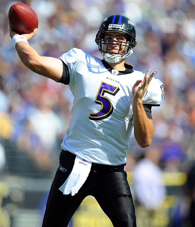 All Flacco did was lead the Ravens to two road playoff wins, becoming the first rookie quarterback to do so.<br><br>Others considered: <br>Chad Pennington (2000)