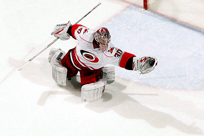 The hottest goaltender coming into the playoffs, the 2006 Conn Smythe Trophy winner gives the Hurricanes a legitimate chance to go deep.