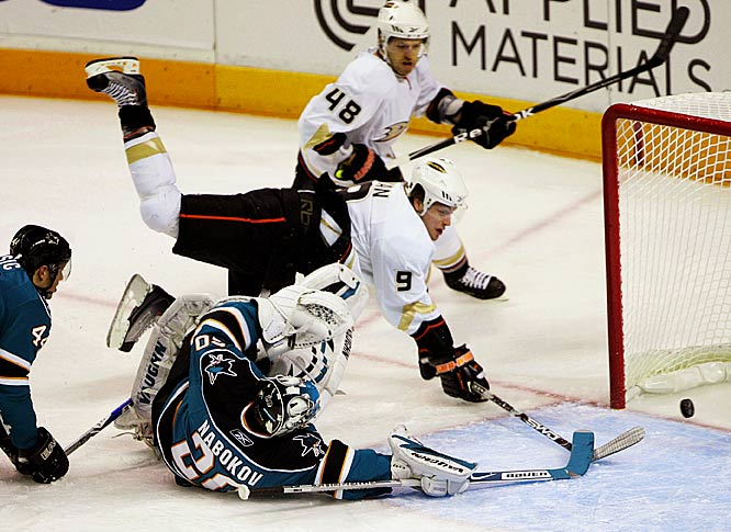 Ducks right wing Bobby Ryan scores past Sharks goalie Evgeni Nabokov during the first period of Game 2 of the Western Conference quarterfinals.