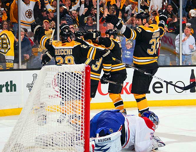 The Boston Bruins celebrate one of their five goals against Canadiens netminder Carey Price in Game 2 of the Eastern Conference quarterfinals.